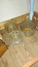 Three glass vintage lamp shades