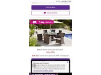 Rattan 6 seater table snd chairs dark brown