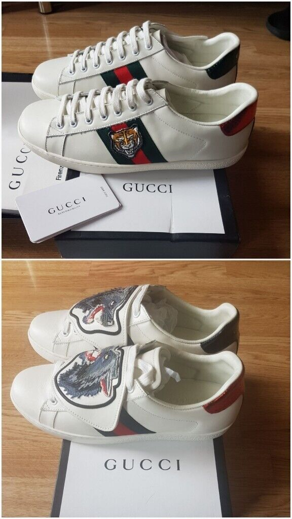 dfecb45f7 Gucci classic Ace Tiger Embroidery & Wolf Removable patches sneakers (White)
