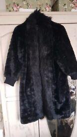 Faux fur zara black coat size m