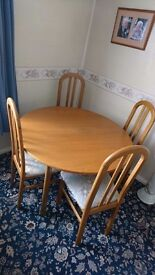 Solid Wood Light Oak Table & 4 Matching Chairs
