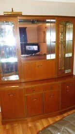 display cabinet with cupboards, glass shelves and drinks cabinet dark wood