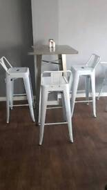 Cafe high table with 3 stools