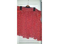 French connection red skirt size 10