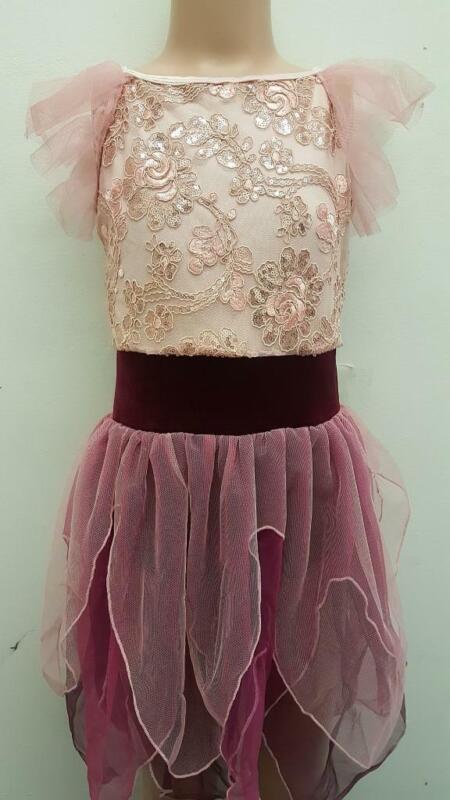 Dance Costume Medium Or Large Child Pink Floral Ballet Lyrical DUET Curtain Call