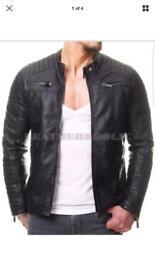New genuine Cafe Racer stylish biker Leather jacket (XL)
