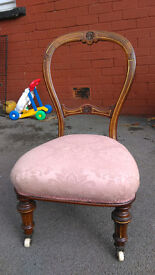 victorian,antique,small,balloon back,chair,turned legs,bedroom chair,hall chair