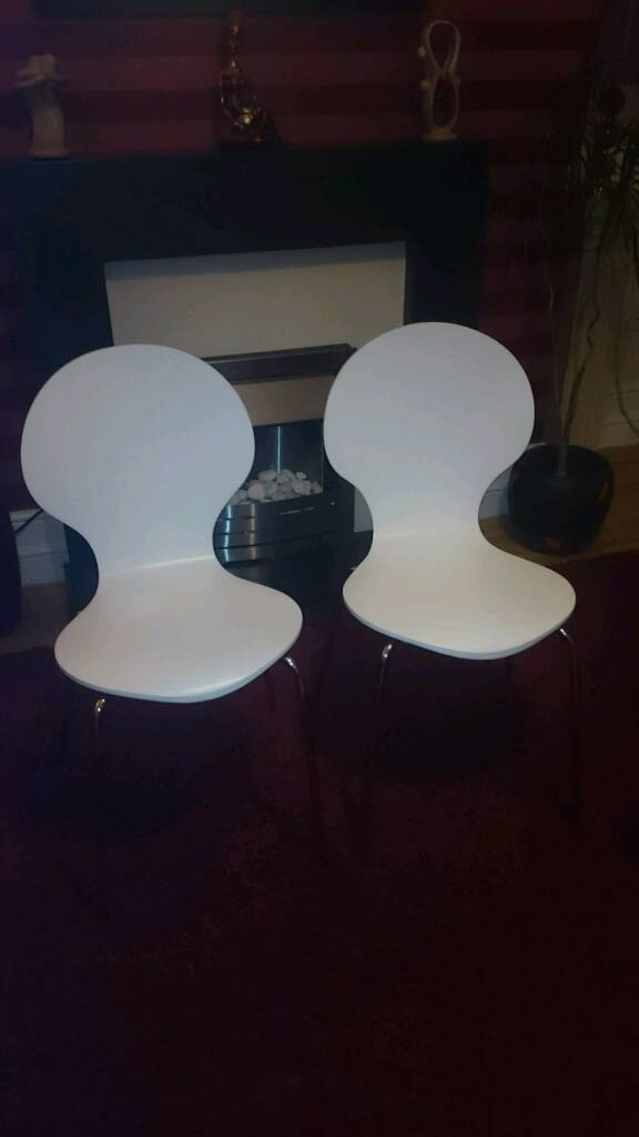 Two white John Lewis chairs