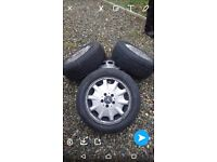 Two sets of 5x112 Mercedes alloys