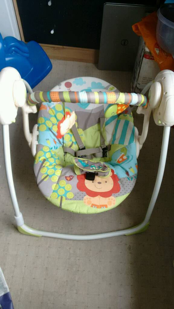 Bright starts up& away portable swing
