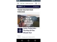 JUSTIN TIMBERLAKE TICKETS FOR LONDON THE 9TH JULY