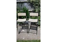 2 x Stools - chrome frames - Bergere wicker seats and backs