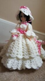 "14"" DOLL WEARING HER HAND MADE CROCHET DRESS & BONNET IVORY AND PINK"