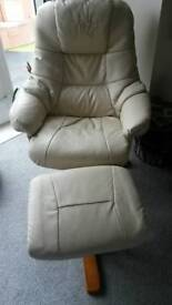 cream recliner with stool