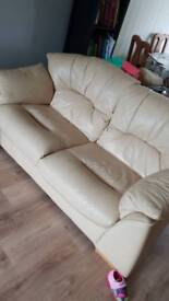 2 cream leather sofas for sale