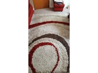 Red and cream rug as new pet and smoke free household