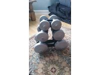 Set of 6 dumbbells. 4.5kg, 2.5kg, 1.1kg
