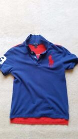 Ralph Lauren Polo shirt, Mens Small Size, Blue & Red, Great condition, Contact me soon as, Cheap £12