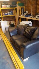 Black Italian Leather Two Seater Sofa