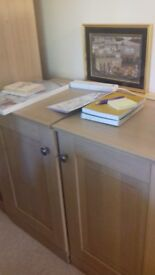 Display cupboards. Two cupboards which sit on top of two base units. Excellent condition.