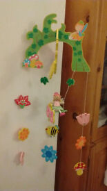 Wooden fairy mobile & matching hooks