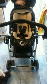 Pram and car seat and staund. Carry cot