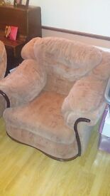 3 SEATER COUCH AND 2x ARMCHAIRS -