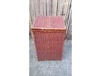 brown wicker linen basket with lid