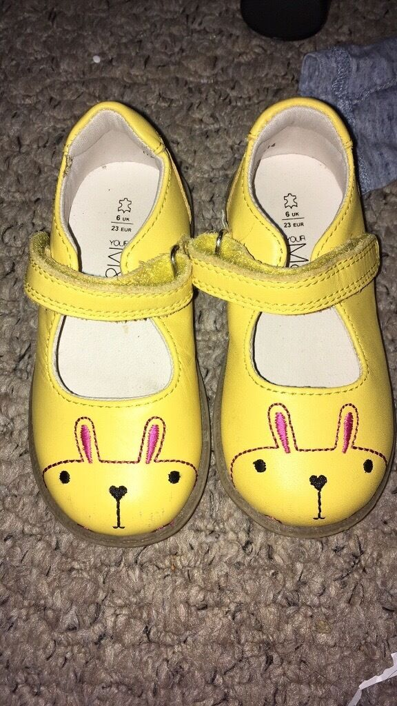 M&S Girls Yellow Leather Rabbit shoes, size 6,