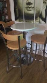 Tall Table with 3 chairs
