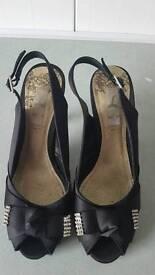 """Black Open-Toe Shoe Size 7 ...... 4"""" Heels"""