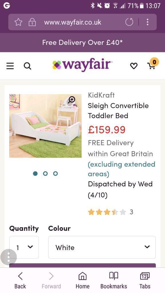 White toddler sleigh bed