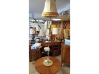 Vintage Onyx & Brass Standard Lamp With Shade