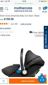 Brand new in box silver cross simplicity car seat