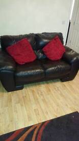 Chocolate brown real leather 2 and 3 seater sofas
