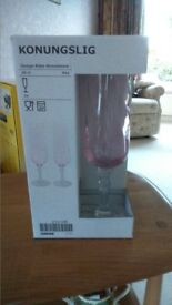10 boxed (never opened) pretty pink Champagne glasses from Ikea