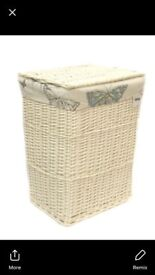 Linen basket new and boxed. Creamy white in colour