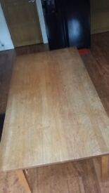 Wooden dining table, but worn just needs a light sanding down to be as good as new. Good quality