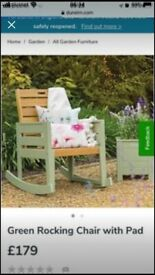 Florenity garden rocking chair in teal and green with two cushions