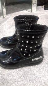 Black paintent girls Lelli Kelly ankle boots