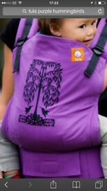 Tula baby carrier purple hummingbirds design