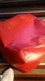 LEATHER LOOK RED CUBE BEAN BAG