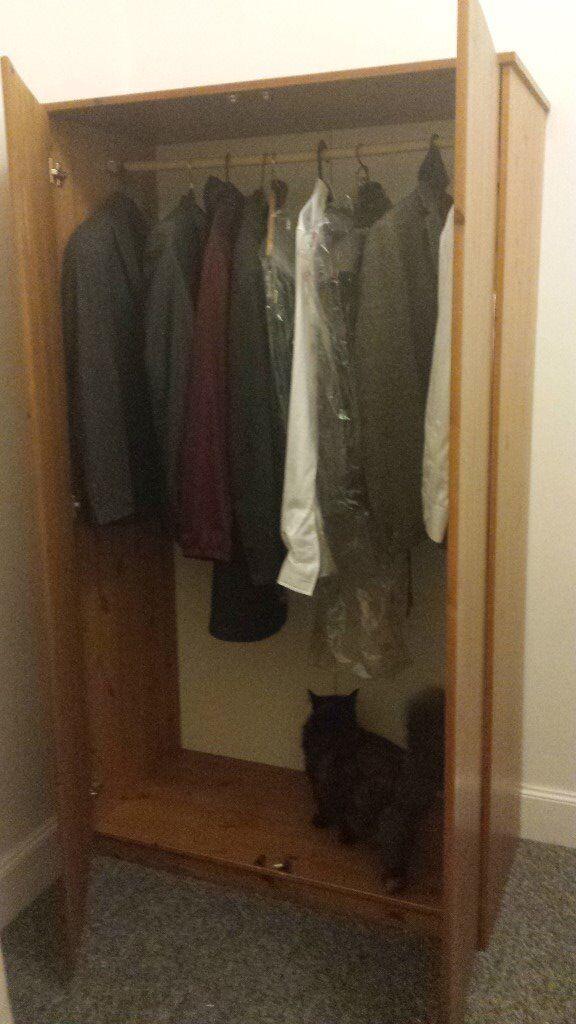 FREE Pine Wardrobe, sturdy but no door handles
