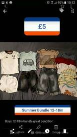Boys Summer Bundle and designer shirts 12-18m see pictures