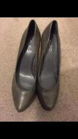 Grey ALDO heels.