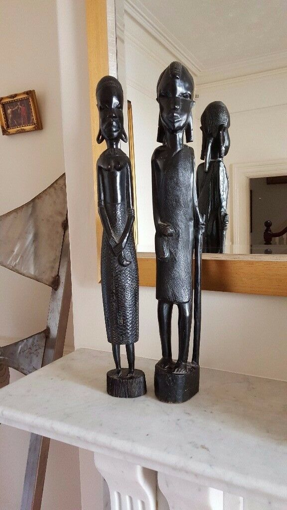 antique african statues, matching pair