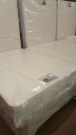 New double bed + quality sprung mattress with memory foam + 2 storage drawers for sale
