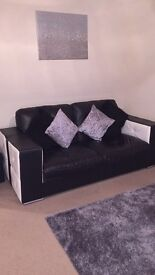 Italian Leather Black and White 3 Seater
