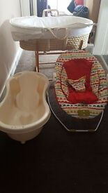 Moses basket, bath and bouncer seat