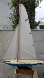 Old Wooden Model Boat with Sails and Stand